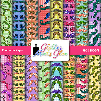 Mustache Paper {Scrapbook Backgrounds for Task Cards & Brag Tags}