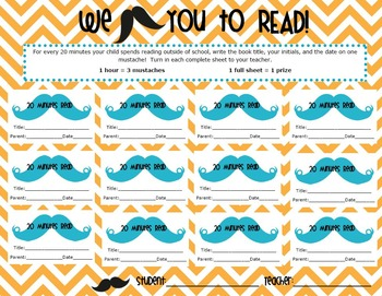 I Mustache You to Read! Reading Log for classroom OR media