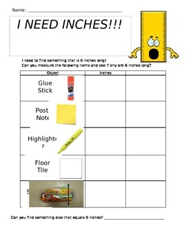 I Need Inches - Inch Measurement Worksheet