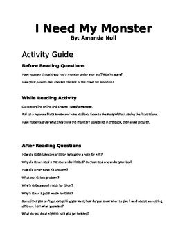 I Need My Monster Read Aloud Activity