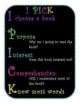 I P-I-C-K for Just Right Books Poster- Black & Bright
