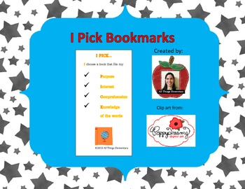 I Pick Daily 5 Bookmark