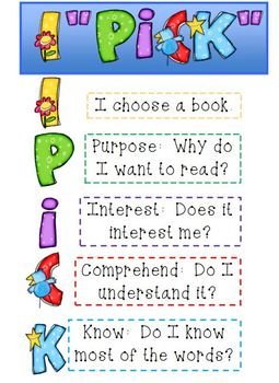 """I Pick"" reading strategies poster"