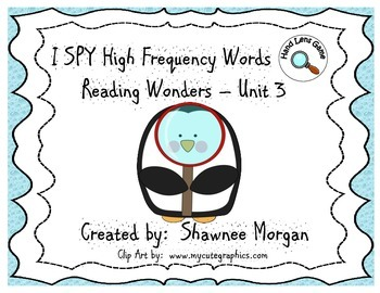 I SPY High Frequency Words - 1st Grade Reading Wonders Unit 3