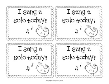 I Sang a Solo Today Certificates