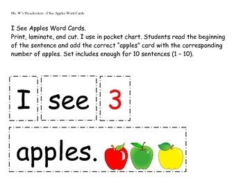 I See Apples Word Cards for Preschoolers