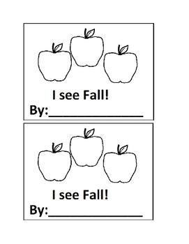 I See Fall! Emergent Reader book for Preschool or Kindergarten