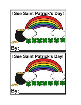 I See St. Patrick's Day Emergent Reader Book in color for