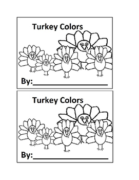 I See Turkey Colors Emergent Reader in black and white