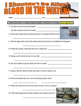 I Shouldn't Be Alive : Blood in the Water (video worksheet)