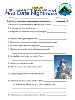 I Shouldn't Be Alive : First Date Nightmare (video worksheet)