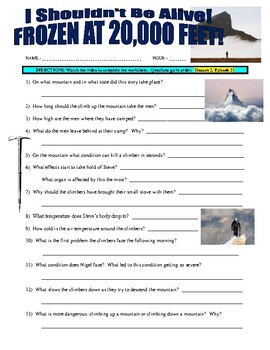 I Shouldn't Be Alive : Frozen at 20,000 Feet (video worksheet)