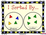 Math Sorting : I Sorted By... Includes colored shapes to s