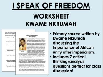 """""""I Speak of Freedom"""" - Kwame Nkrumah-Imperialism-Global/Wo"""