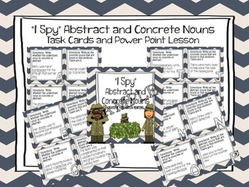 """""""I Spy"""" Abstract and Concrete Nouns- Task Cards and Powerp"""