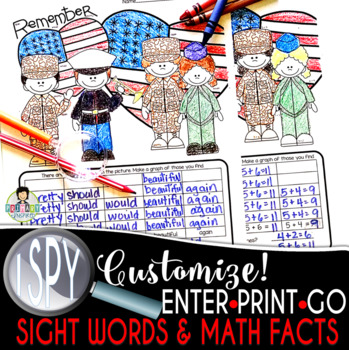 I Spy Addition Facts *Veterans Day* FREEBIE