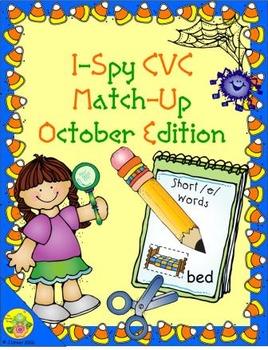 I-Spy CVC Match-Up - Short /e/ Assorted Words (October Edition)