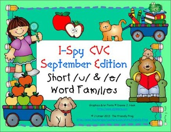 I-Spy CVC Learning Centers - Short /u/ & /e/ Word Families