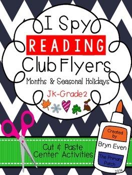 I Spy READING Club Flyers: Months & Seasonal Holidays