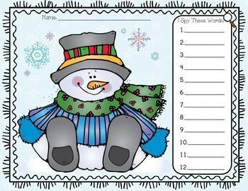 I Spy Sight Words Snowman