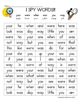 I Spy~ your, were, when, was, you, way