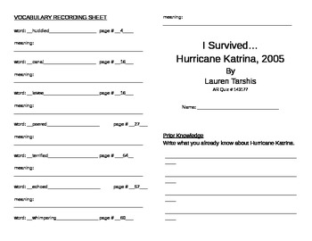 I Survived Hurricane Katrina Literature Unit
