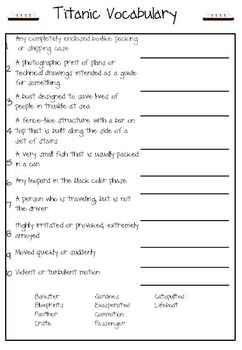 """""""I Survived: The Sinking of the Titanic"""" Vocabulary Worksheet"""