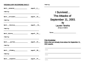 I Survived the Attacks of September 11 Literature Unit