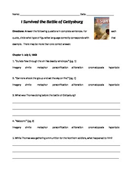 I Survived the Battle of Gettysburg Comprehension Questions