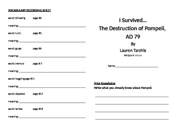 I Survived the Destruction of Pompeii, AD 79 Literature Unit