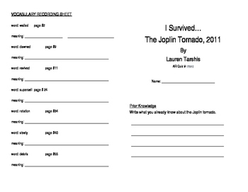 I Survived the Joplin Tornado, 2011 Literature Unit