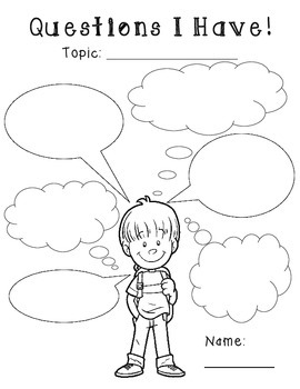 I Think and I Wonder Thought Bubble Graphic Organizers: 1s