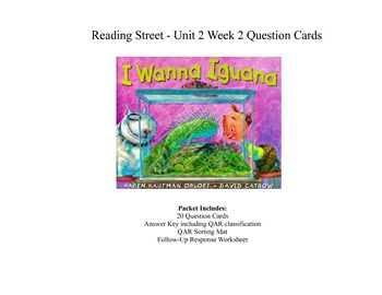 """I Wanna Iguana"" Question Cards - Third Grade Reading Stre"