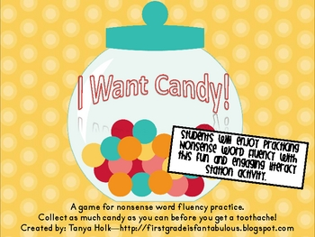 """""""I Want Candy"""" Nonsense Word Fluency Game"""