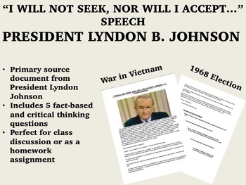 """I Will Not Seek..."" speech - Lyndon B. Johnson (LBJ) - 19"