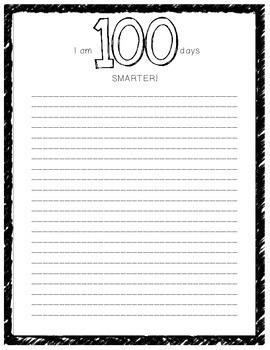 I am 100 Days Smarter Writing Paper (BW and Color)