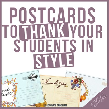 Your Teacher Is Thankful For You -Editable postcards for o
