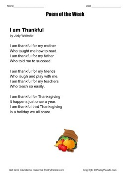 I am Thankful  A poem of the week by Jody Weissler Thanksg