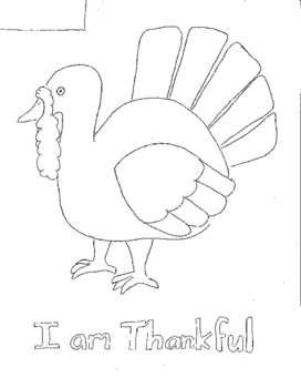 I am Thankful/ turkey coloring page