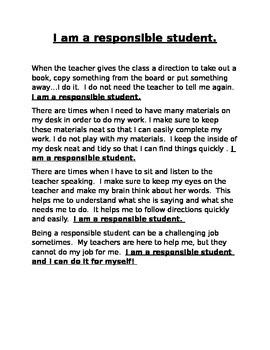 I am a Responsible Student Social Story