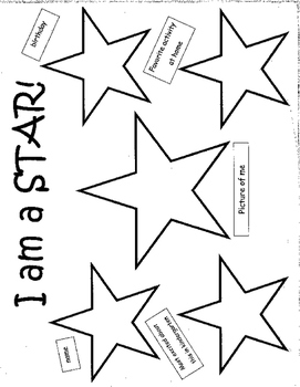I am a Star - back to school paper