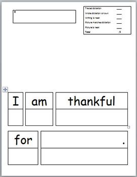 I am thankful for... sentence prompt with rubric