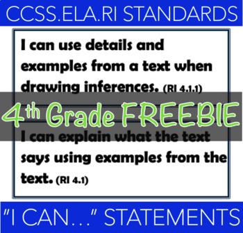 """I can..."" 4th Grade CCS- Reading Informational Texts"
