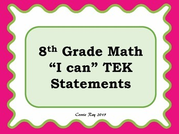 """I can"" TEKS Statement Posters - 8th Grade Math"