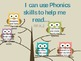 I can statements for Reading Owl Themed, Common Core Kindergarten