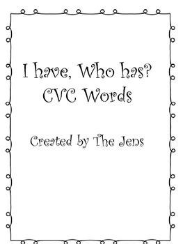 I have Who Has? CVC Words