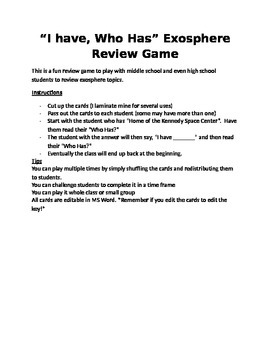 I have, Who Has Exosphere Review Game