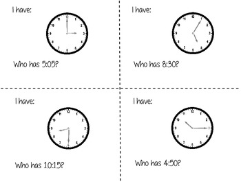 I have Who Has Whole Class Telling Time to the Five Minute