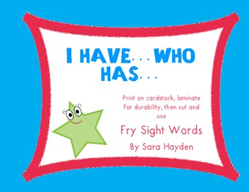 Fry Words: 2nd 100 'I Have...Who Has...' (10 games)