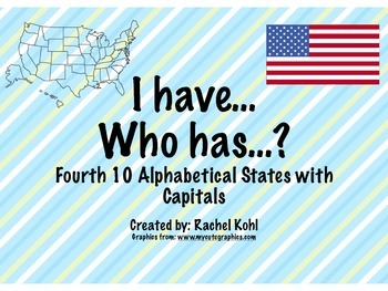 I have... Who has...? Fourth 10 Alphabetical States and Capitals